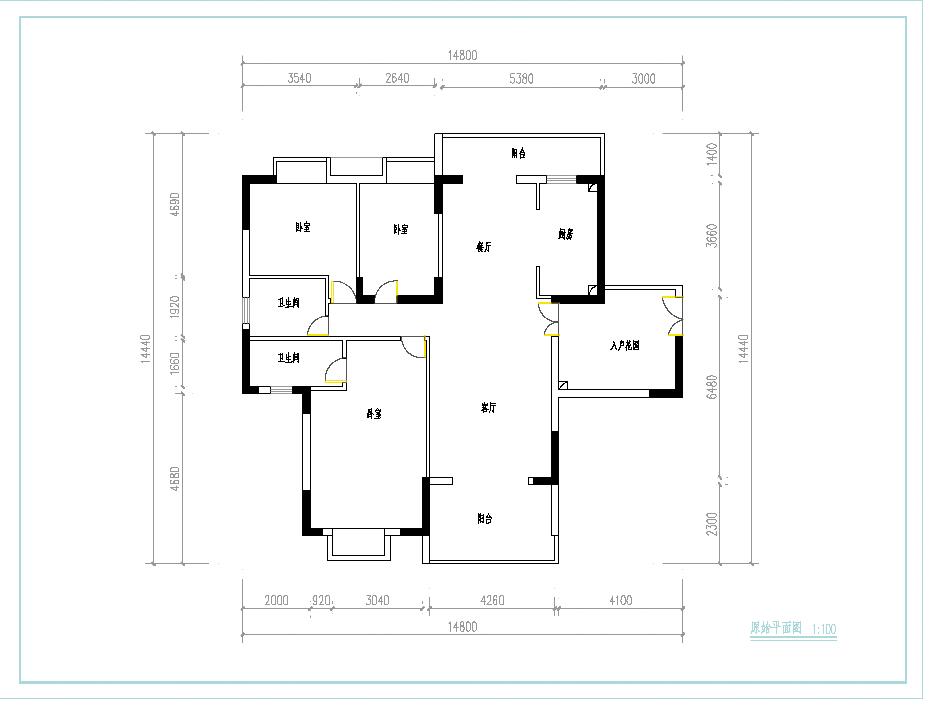 房屋装修平面结构图_200元