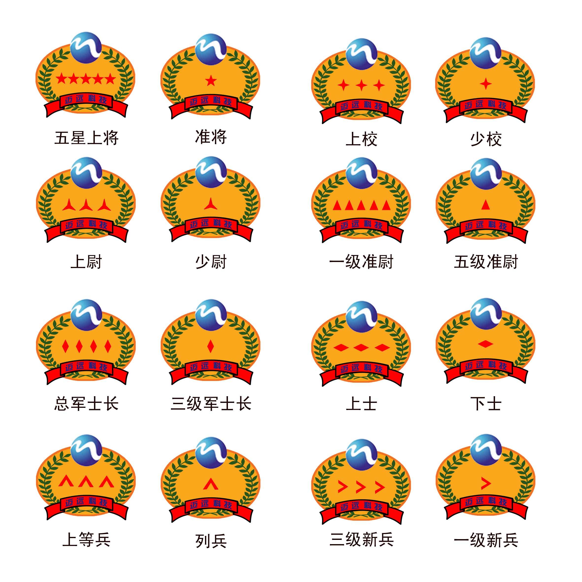 一、设计对象简介 胸标是迈远科技职级划分的标示,是对迈远科技不同职务的员工授予的等级称号,胸标将员工的荣誉称号、待遇等级和职务因素融为一体,使其兼有调整团队工作关系和调整个人利益关系的两种功能。迈远的胸标分为将官、校官、尉官、准尉、士官、军士、兵7等。每级再细分数级(详见下图)。 二、创作主题 1、公司胸标应准确反映迈远科技人文特色,内涵丰富,意境深远; 2、图案应色彩简洁,动感强烈,特色明显,易于识别,充分展示公司特点; 3、胸标与公司整体形象一致。 三、竞标要求 1、每位竞标的作品数量不限,需要设计全