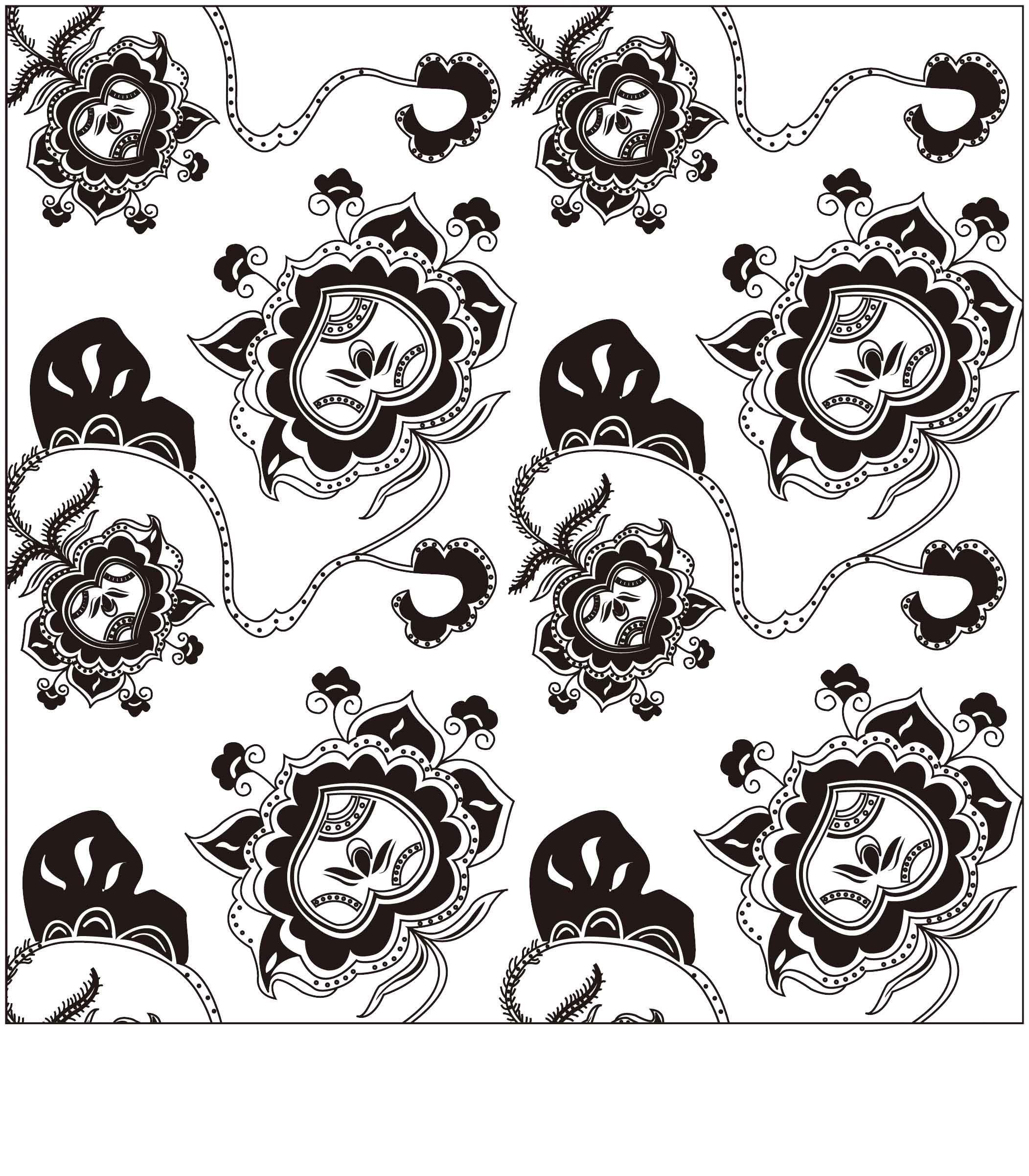 急需花卉纹样黑白设计稿两幅