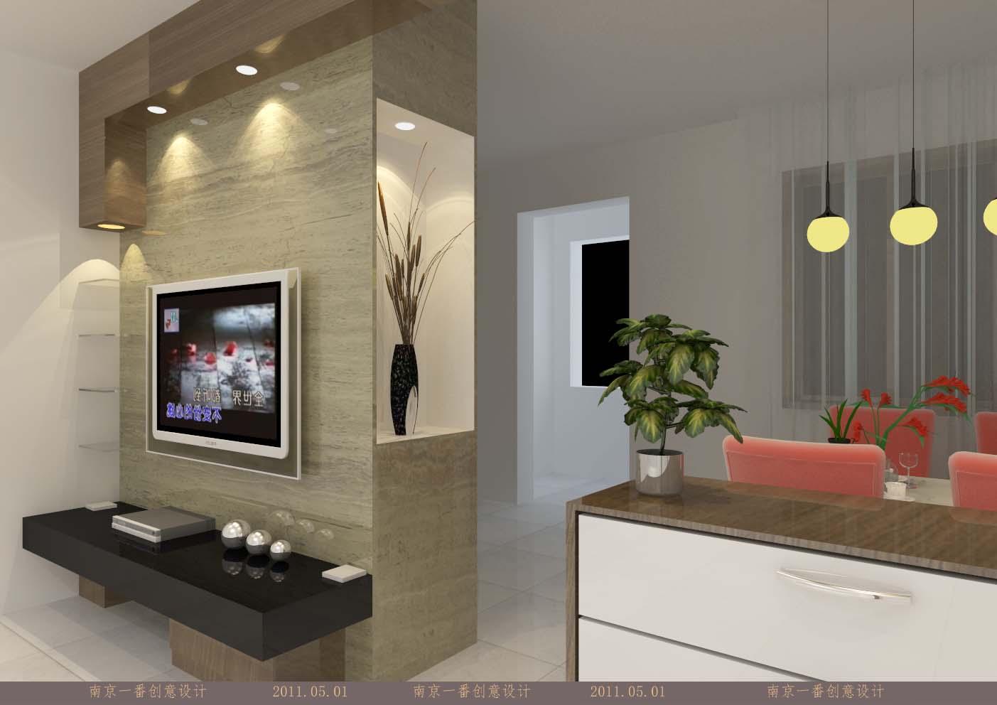 客厅隔断墙(电视墙)效果图设计-降低要求
