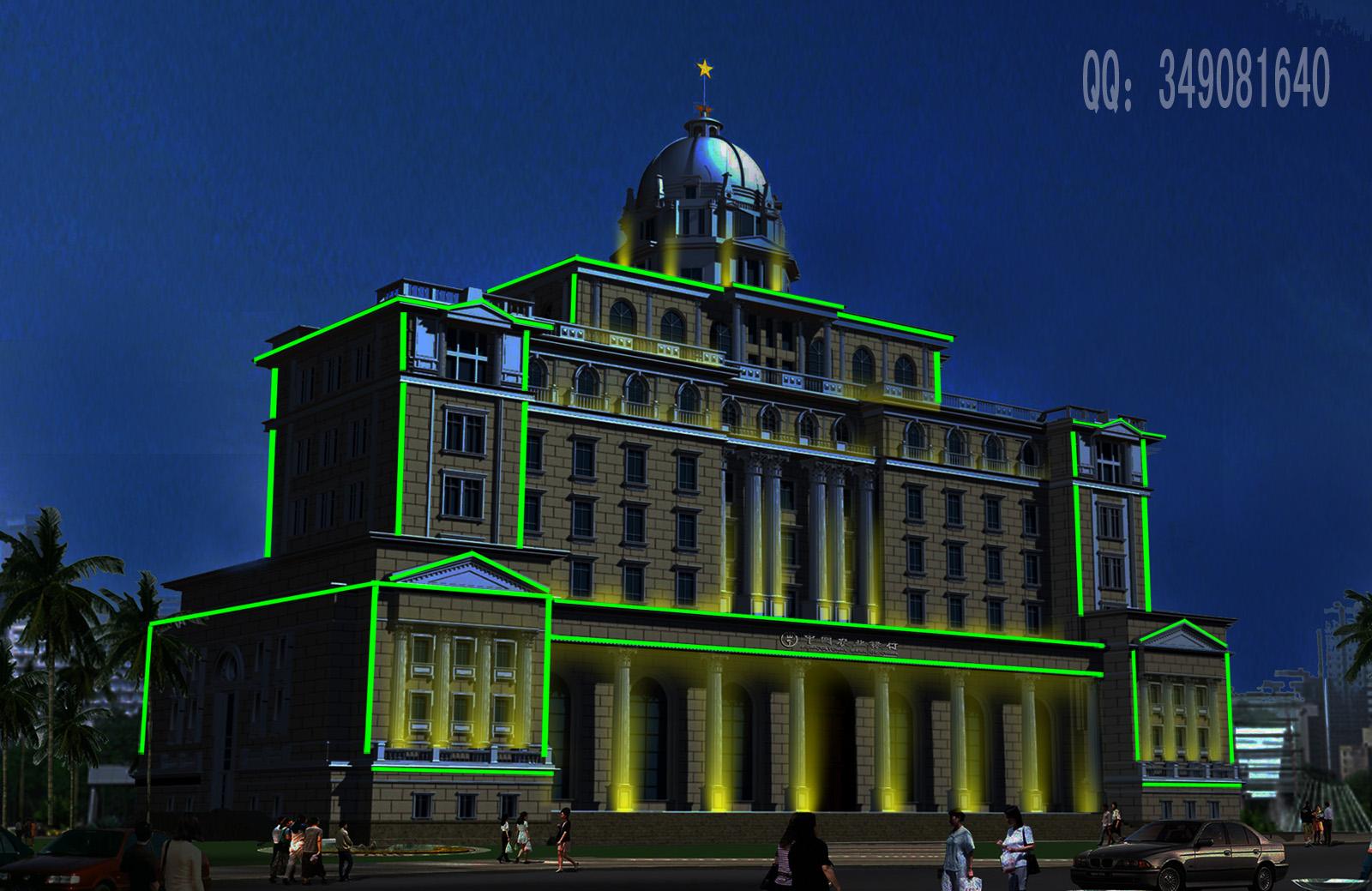 商业银行办公楼夜景照明装饰设计