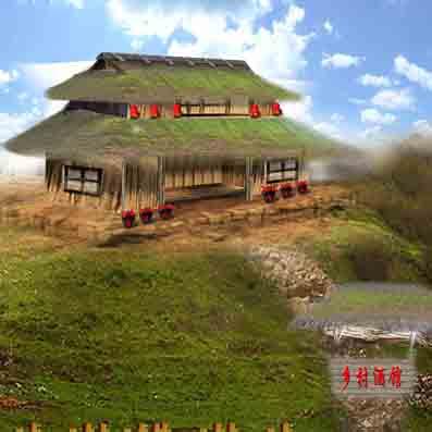 茅草房乡村酒馆外观造型设计